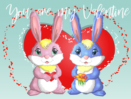 Happy valentines day. Love card. A pair of cute bunnies girl and boy, pink and deep against a red heart. Concept of love confession, marriage proposal, relationship, couple