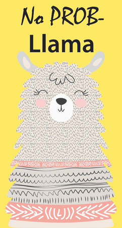 Hand drawn vector illustration of a cute funny llama. Isolated objects on white. Scandinavian style flat design. Inscription No Drama - Lama Vector Illustration