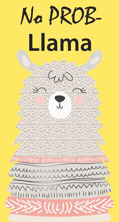 Illustration vectorielle dessinés à la main d'un lama drôle mignon. Objets isolés sur blanc. Design plat de style scandinave. Inscription Pas de Drame - Lama Vecteurs
