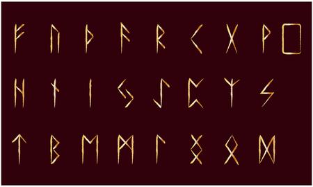 Set of Old Norse Scandinavian runes. Rune alphabet. Occult ancient symbols. Gold stamping, texture
