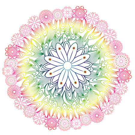 Flower mandala. Vintage decorative element. Ornamental round doodle flower isolated on white background. Geometric circle element