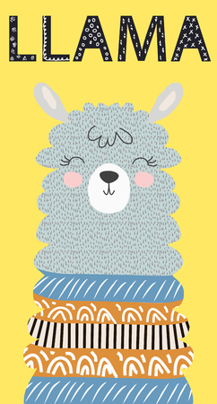 Hand drawn vector illustration of a cute funny llama face Scandinavian style flat design. Inscription Lama Banque d'images - 124870659