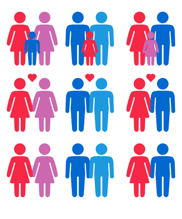 Gay, lesbian, hetero couples and family with children icons set