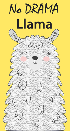 Illustration vectorielle dessinés à la main d'un lama drôle mignon. Objets isolés sur blanc. Design plat de style scandinave. Inscription Pas de Drame - Lama