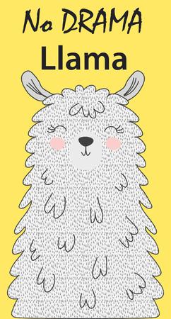 Illustrazione vettoriale disegnato a mano di un lama divertente carino. Oggetti isolati su bianco. Design piatto in stile scandinavo. Iscrizione No Drama - Lama