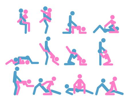 Cartoon verschiedene Sex-Posen oder Positionspaar Set Konzept der Leidenschaft erotische flache Design-Stil. Kamasutra, die Kunst der Liebe