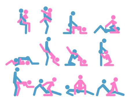 Dibujos animados de diferentes poses de sexo o posición de pareja Concepto de estilo de diseño plano erótico de pasión. Kamasutra, el arte del amor