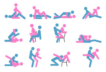 Kamasutra, skizzenhafte Posen zum Liebesspiel. Einstellen. Yin und Yang, Mann und Frau lieben sich. Kamasutra, die Kunst der Liebe Vektorgrafik