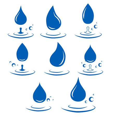 abstract set of blue water drop icons on white background