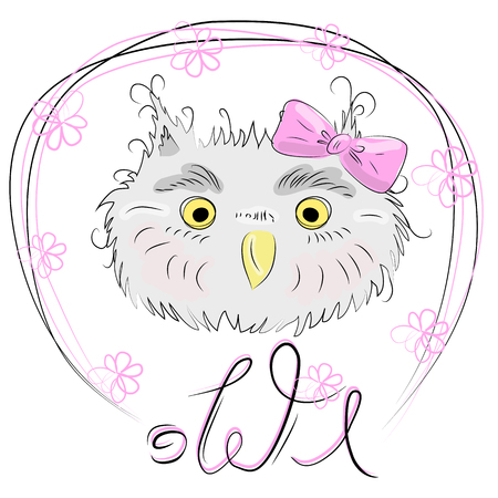 Cute owl face in a floral frame with a bow, owl, design, trendy, gray, pink