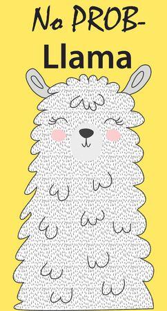 Hand drawn vector illustration of a cute funny llama face Scandinavian style flat design. Inscription No Drama - Lama Banque d'images - 124870837