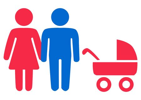 A schematic depiction of a hetero family couple man and woman with children, icon