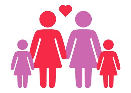 A schematic depiction of a family couple of lesbian women with children, icon Stok Fotoğraf - 124870843