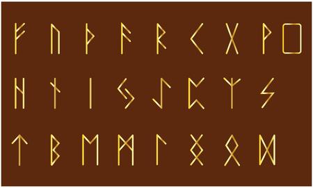Set of Old Norse Scandinavian runes. Rune alphabet. ancient symbols