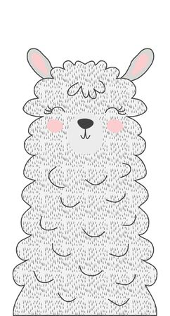 Hand drawn vector illustration of a cute funny llama. Isolated objects. Scandinavian style flat design. Concept