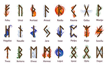Un gran conjunto de runas escandinavas, decoradas según los elementos de Fuego, Agua, Tierra, Aire y Tiempo.