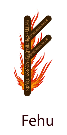 Runa Fehu. Scandinavian. Runes Element of Fire, the flame around the runes