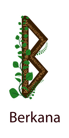 Rune Berkana. Vertical projection Scandinavian. Rune elements Earth, green shoots around the runes
