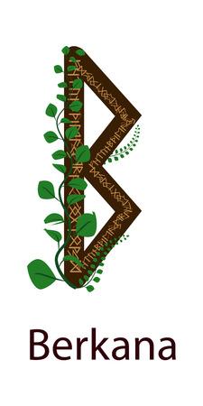 Rune Berkana. Vertical projection Scandinavian. Rune elements Earth, green shoots around the runes Illustration