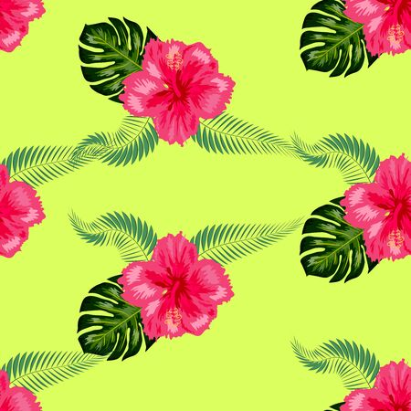 Tropical hibiscus flowers and palm leaves bouquets seamless pattern. Jungle foliage illustration with exotic plants. Summer beach floral surface design.