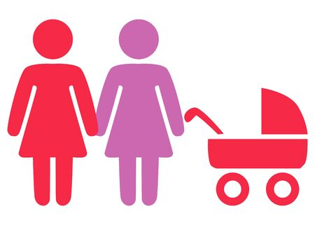 A schematic depiction of a family couple of women with children, icon