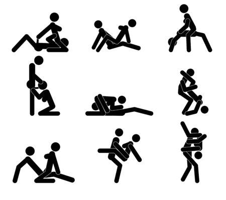 schetsmatige poses voor het bedrijven van de liefde. Set. Yin en Yang, man en vrouw houden van elkaar. Vector Illustratie