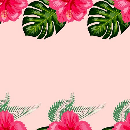 Tropical exotic flowers hibiscus, frangipani plumeria and palm, banana leaves composition. seamless pattern