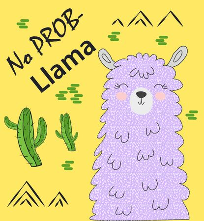Motivation lettering with No drama llama. Chilling funny doodle alpaca or peru symbol lama with cactus.
