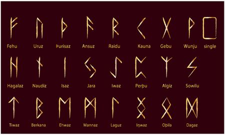 Set of Old Norse Scandinavian runes. Rune alphabet. Occult ancient symbols. Gold stamping