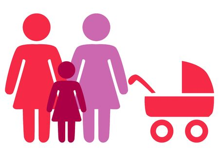 A schematic depiction of a family couple of lesbian women with children, icon Illustration
