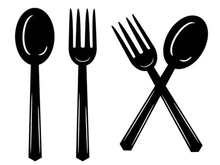 spoon and fork icon illustration isolated sign symbol Векторная Иллюстрация