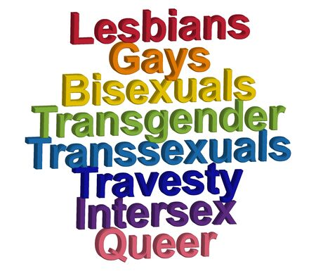 LGBT concept, motivating phrase in the colors of the rainbow. Decoding abbreviations LGBT. Lesbian, Gay, Bisexual, Transgender, Transsexual, Travesty, Intersex, Queer 일러스트