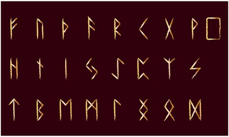 Set of Old Norse Scandinavian runes. Rune alphabet. Occult ancient symbols. Gold stamping, texture Illustration