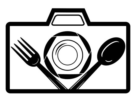 Food Photography  Template Design plate with spoon and fork icon