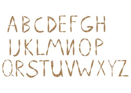 Old rope hand drawn alphabet letters from A to Z