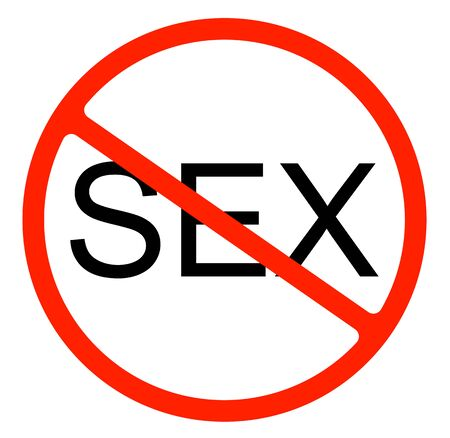 No sex allowed sign icon prohibiting flat symbol   illustration isolated on white background.Forbidden Warning,ban in circle red.