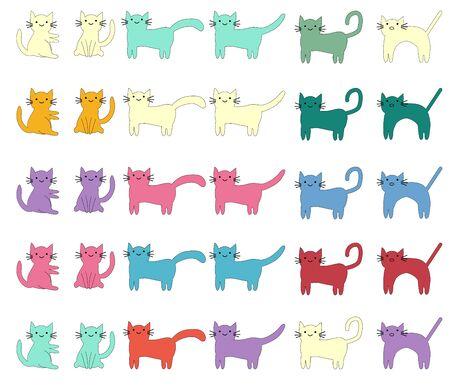 Cat different breeds set, cute pet animal Illustration