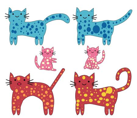 Set of cute cats in simple design for kid's greeting card design, t-shirt print, inspiration poster Stock Illustratie
