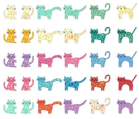 Cat different breeds set, cute pet animal 向量圖像