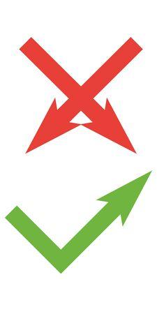 Vektorflache Häkchensymbole für Web- und mobile Apps. Rote und grüne Farben.