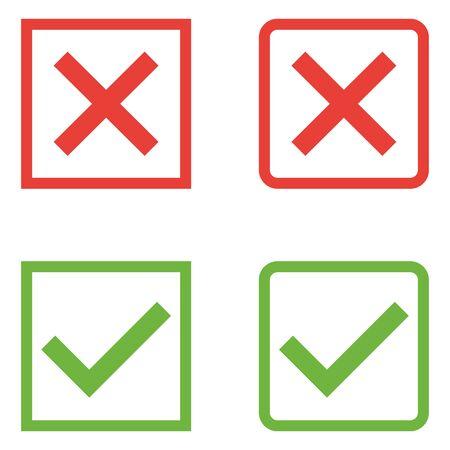 Ensemble de vecteur d'icônes de coches de conception plate. Différentes variations de ticks et de croix représentent la confirmation, les bons et les mauvais choix, l'achèvement des tâches, le vote, etc. Vecteurs
