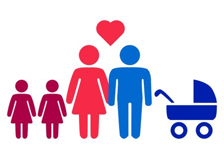 A schematic depiction of a hetero family couple man and woman with children, icon Vetores