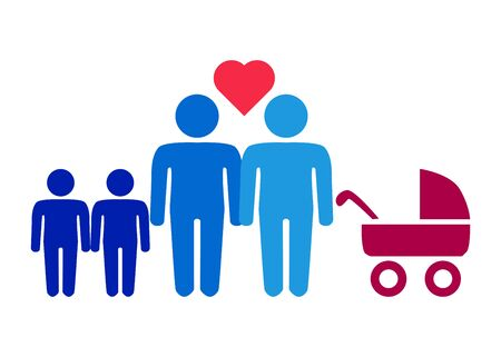 A schematic depiction of a family couple of gay men with children, icon Stock Illustratie