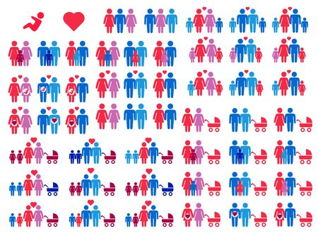 Big icons set of Gay, lesbian, hetero couples and family with children Stock Illustratie