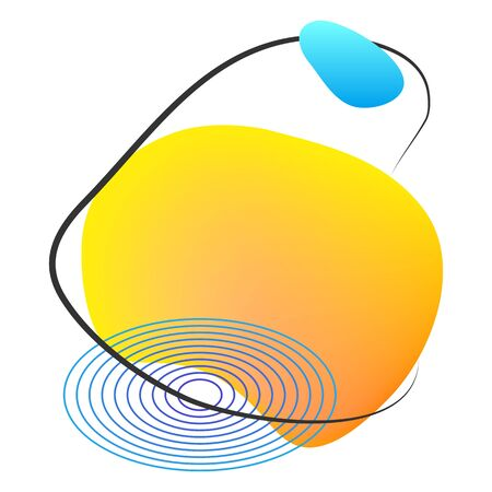 Yellow liquid blob with lines and circle. Abstract fluid spot as template for logo background. Gradient aqua blotch for modern card design. Illustration