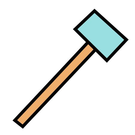 Carpenter hammer in flat style. Typical simplistic hammer tool. Carpenter hammer