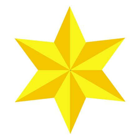 Jewish Star of David. Golden six-pointed star. Gold Magen David. icon.