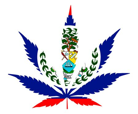 Cannabis leaf flag. The concept of legalization of marijuana, cannabis to Belize Vector Illustratie