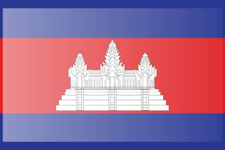 Flag of Cambodia. Accurate dimensions, element proportions and colors. 向量圖像
