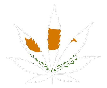 Cannabis leaf flag. The concept of legalization of marijuana, cannabis in Cyprus Çizim
